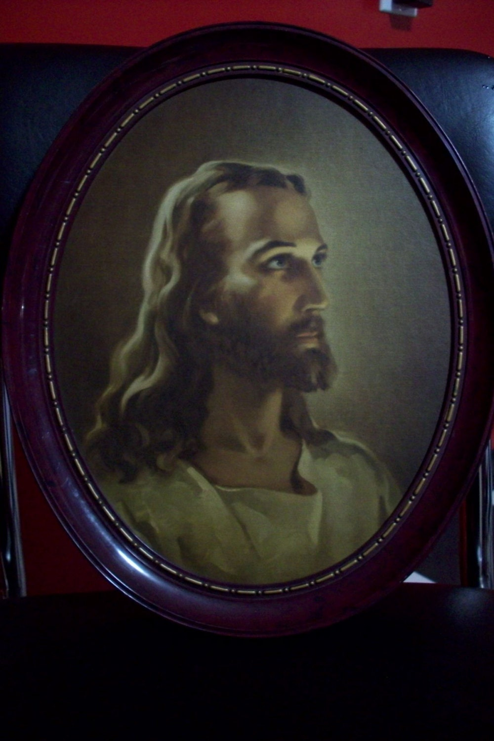 Religious Wall Art Vintage Framed Portrait Of Jesus