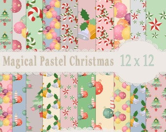 Christmas Pastel paper, Christmas papers, Pink Christmas, Pastel Christmas, Christmas, Digital Papers,Scrapbook paper,  Christmas Scrapbook