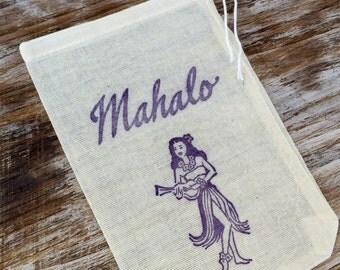 10 mahalo favor bags, wedding welcome bags, Hawaiian favor bags, Destination wedding welcome favor bags, beach wedding favors, hula girl
