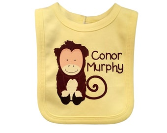 Customised Monkey Bib, Monkey Baby Bib, Kids Name Bib, Baby Name Gift, Unique New Birth Gift, Children's Name Bib, Feeding Time Dribble Bibs
