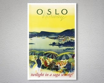 Oslo  Norway Vintage Travel Poster - Poster Print, Sticker or Canvas Print