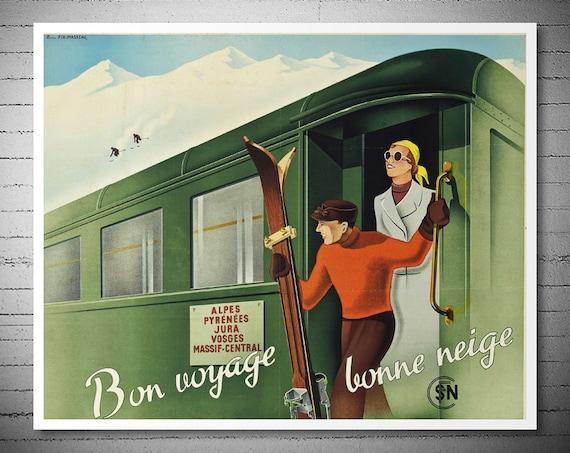 bon voyage bonne neige vintage travel poster poster by