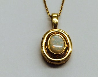 Multicolor  14k yellow gold opal pendant and chain; 3.9 grams; 8x6 mm oval stone; October birthstone; gift for her;SALE