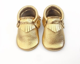 Gold Baby Moccasins, Toddler Leather Moccasins, Gold Moccasins, Gold Leather Shoes, Infant shoes, Crib Shoes, Wild Explorers