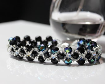 Black and Silver Right Angle Weave Bracelet