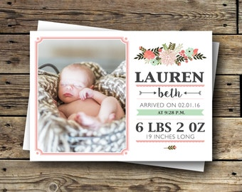 Printable Birth Announcement - Vintage Floral