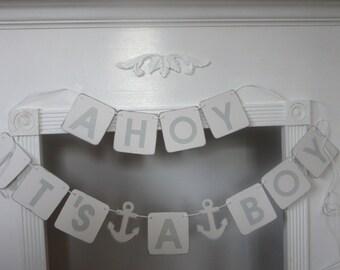 It's A Boy Banner Ahoy It's A Boy Nautical Baby Shower Banner