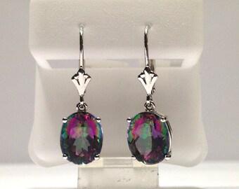 5.00 Carat Rainbow Topaz Dangle Earrings in 14K Gold