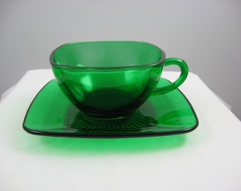 Anchor Hocking Fire-King Forest Green Charm Aquare Green Cup and Saucer