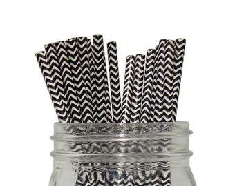 Black Chevron Striped Party Paper Straws 25pcs CSS250015 Just Artifacts Brand