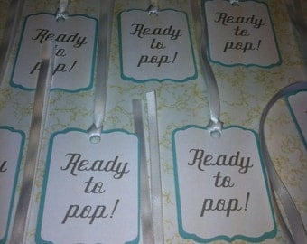 Ready to pop favor tags, favor tags, baby shower favor tags,
