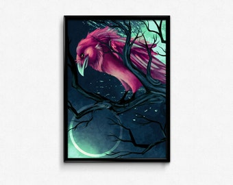 PRINT. Magenta raven crow in tree branches with surreal blue background. Surreal bird art print. Handsigned. Letter size print