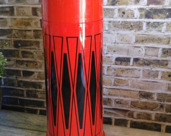 Vintage Thermos Tall Red Black Diamonds with Plastic Cup