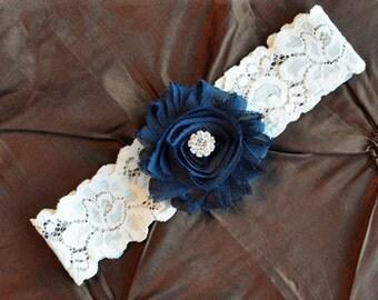 NAVY Wedding Garter, Bridal Garter, Ivory Lace Garter, Toss Garter, Wedding Garter Belt, Shabby Chiffon Navy Blue Garter, Something Blue