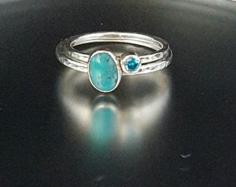 Silver Stacking Rings - Turquoise Ring - Promise Ring - Statement Ring - Gemstone Ring