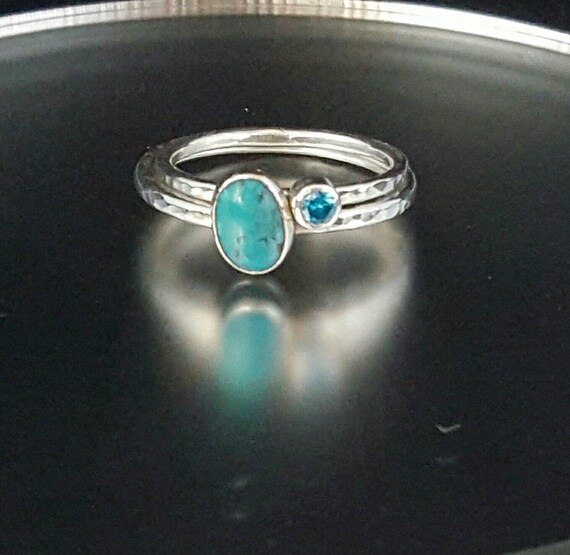 silver stacking rings turquoise ring promise ring
