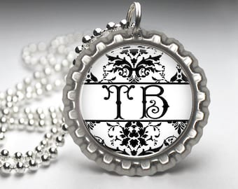 Bottlecap Necklace - Damask backing with your initials. BC004
