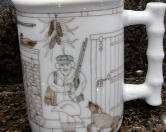 Vintage Porclein Mug/ Hunter/ Dog/ Rifle/Fireplace