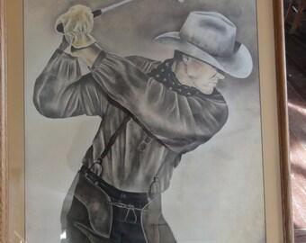 Vintage 1996 Cowboy Golfing Print/Lori Jo Giddings
