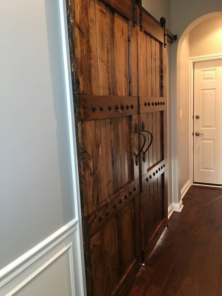 Interior Double Barn Door Package Double Doors Sliding Wooden Door Barn Door Hardware