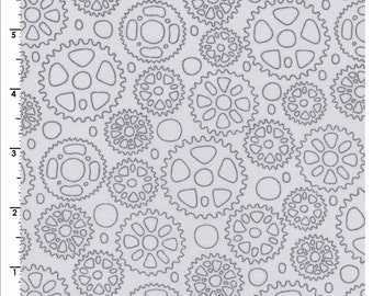 Cycles of Life Cycles Sprockets Grey by Kristen Berger for Maywood Studios MAS8153 K Half Yard Cut and Yardage Available