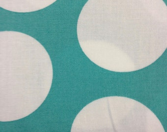 Half Moon Modern for Moda Half Yard Cut and Yardage Available White Circle on Aqua 32357 33