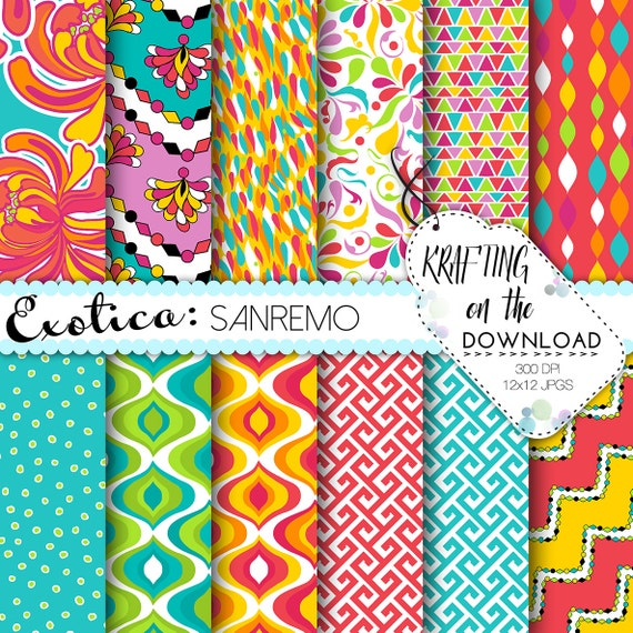 Coral teal pink Pucci inspired tropical summer Digital Paper Pack summer floral tropical papers scrapbooking turquoise pink instant download