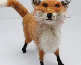 Needle Felted Fox Sculpture ~ Fox Sculpture ~ Fully Poseable Fox
