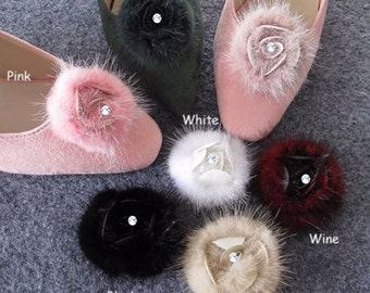 Set of 2 - White,Dark Green,Mauve,Pink,Wine,Beige,Black Fur - Rose Shoe Clips, Fur Shoe Clips, Wedding Bridal Shoe Clips, Flower Shoe Clips
