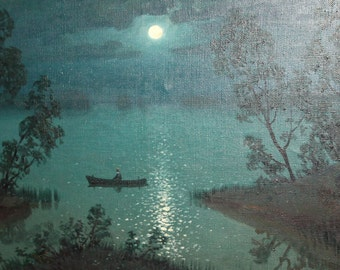 Vintage oil painting night landscape lake signed