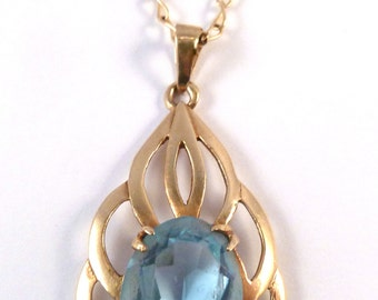 Vintage 9ct Gold Blue Spinel Openwork 70's Pendant And Necklace.