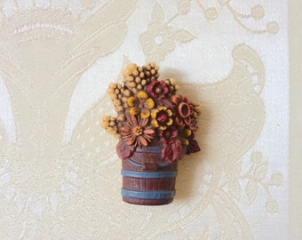 1980s Hallmark Plastic Barrel of Autumn Flowers Pin