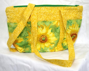 Sunflower Purse With Lots of Pockets, Shoulder Straps, Zippered Top