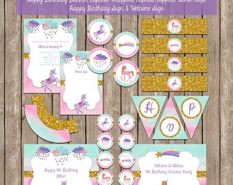 Custom Glitter Unicorn Party Pack - Invitation - Thank You - Cupcake Toppers - Cupcake Wraps - Bottle Wraps - Banner - Favor Tags