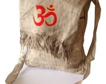 "Eco Friendly Pure Hemp ""OM"" Embroidered Side Handbag"