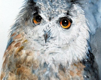 Watercolor Owl Painting Original Artwork Owl Art Woodland Bird 9.5x10.5