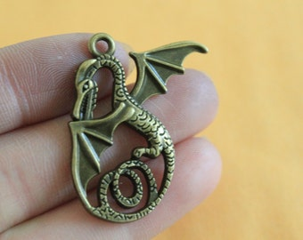 Dragon Charms Antique Bronze Tone 28*36mm Antique Bronze Dragon Charms jewelry making