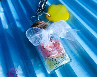 Peach/Yellow Roses Bottle Charm Necklace