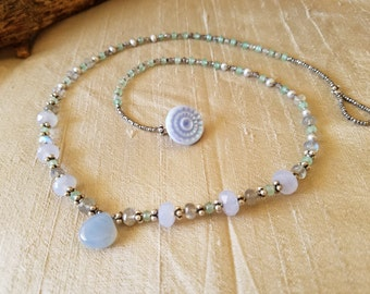 Blue Chalcedony and Labradorite Necklace