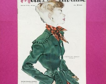Vintage Fashion Magazine. 1940s Modes et Travaux Magazine August 1948. Fashion Patterns. Sewing. French Fashion.