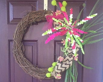 Grapevine wreath with lime and fuchsia accent pieces
