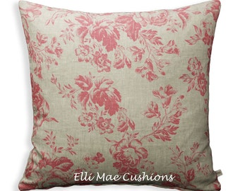 Cabbages and Roses Paris Rose Fabric Designer Raspberry Linen Sofa Throw Cushion Pillow Cover