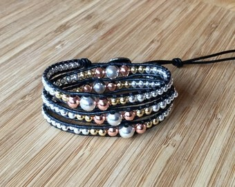 CatMar Silver, Gold, Rose Gold Beaded Wrist Wrap Bracelet With Black Leather Cord and Antique Silver Button