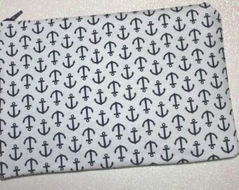 Navy and White Anchor Bag - Anchors - Nautical Bag - Nautical makeup bag - Anchor Bag - Anchor pouch
