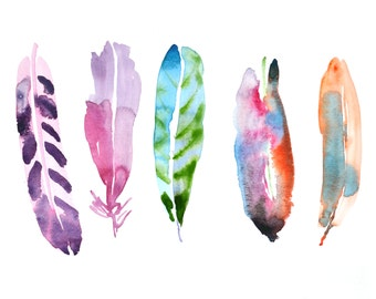 5 Colorful Watercolor Feather Original Painting