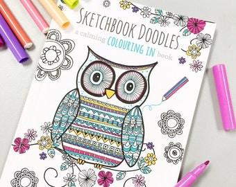 SALE* HALF PRICE* Colouring book - 'Sketchbook Doodles' - colouring in/colour in book/art therapy/mindfulness