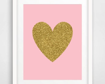 Gold Glitter Heart Print  Baby Girl Nursery Wall Art Blush Gold Nursery Print kids room wall decor Digital Printable Art Print