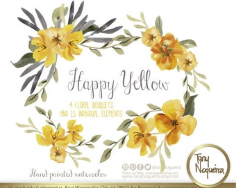 Happy Yellow Watercolor Floral Wedding Elements, Clipart, PNG, Vintage Flowers, Rustic, arrangement, posies, Fall Wedding, for invitations