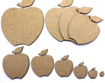 Apple Craft Shapes, 2mm MDF Wooden Embellishments, Tags, Decorations (10 Pack)