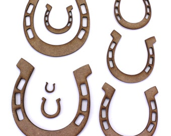 Horseshoe Craft Shapes, 2mm MDF Wooden Embellishments, Tags, Decorations (10 Pack)